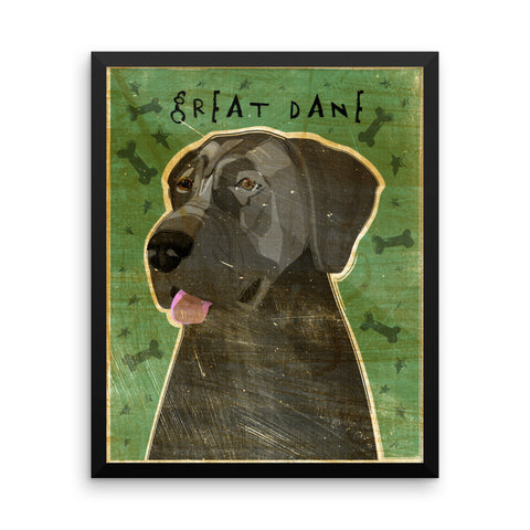 Blue Great Dane Framed poster- Uncropped Ears