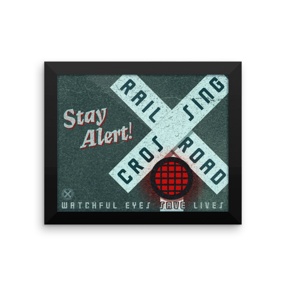 Stay Alert Train Framed poster- Train Poster