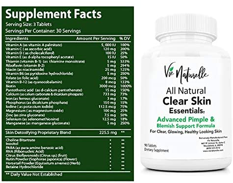 Acne Vitamins Supplements for Acne Treatment - 90 Natural Supplement Pills for Men, Women, and Teens by Vie Naturelle