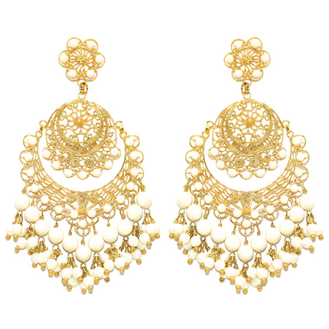 White Pearl Filigree Earring