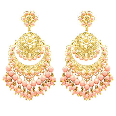 Light Coral Pearl Filigree Earring