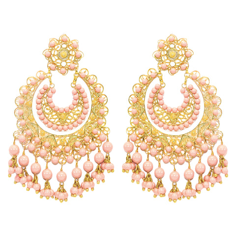 Light Rose Pearl Filigree Earring