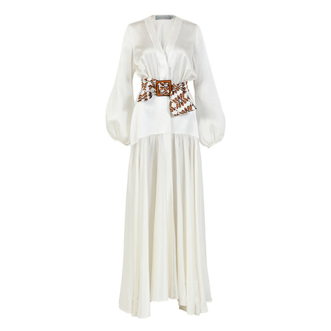 Felicity Dress White-Brown