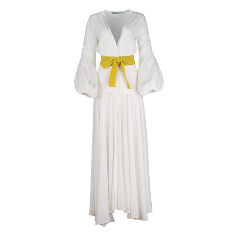 Felicity Dress White-Yellow