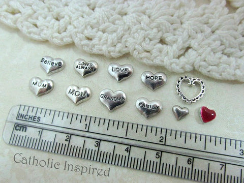 Floating Locket Heart Saying Charms
