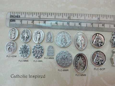 Mary, Jesus, and Saint Medals for Floating Lockets