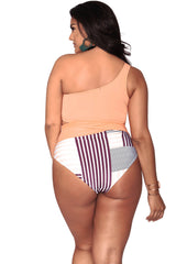 Alexis Bikini Bottom- Full Coverage - Peach Stripes