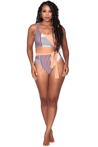 Alexis Bikini Bottom- Medium Coverage - Peach Stripes