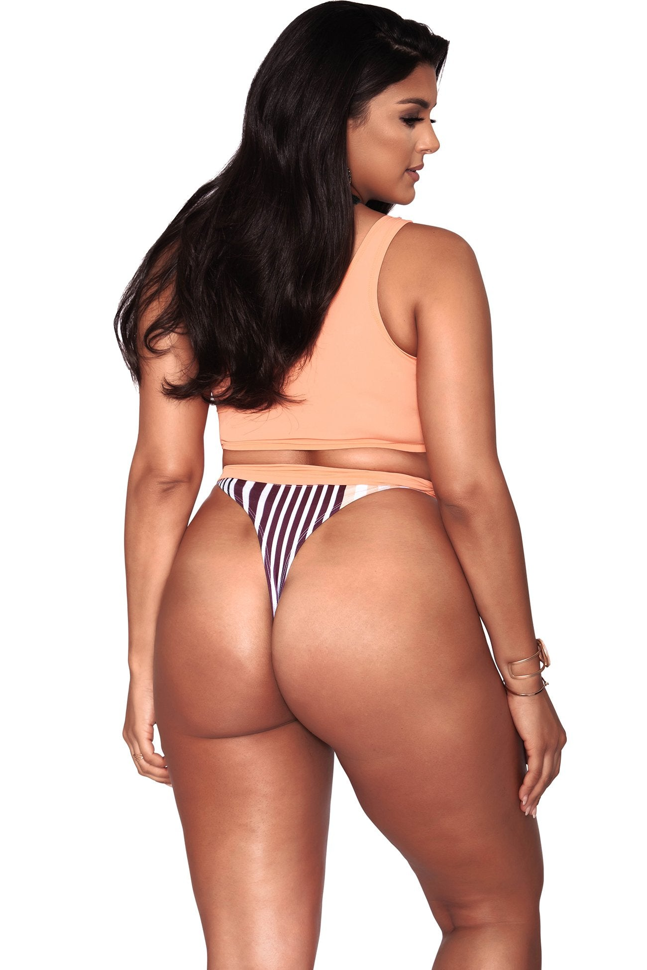 Alexis Bikini Bottom- Minimal Coverage - Peach Stripes