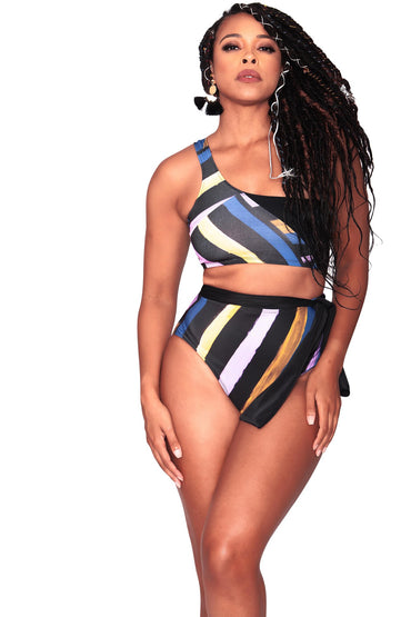 Alexis Bikini Bottom- Full Coverage - Bold Stripes