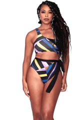 Alexis Bikini Bottom- Medium Coverage - Bold Stripes