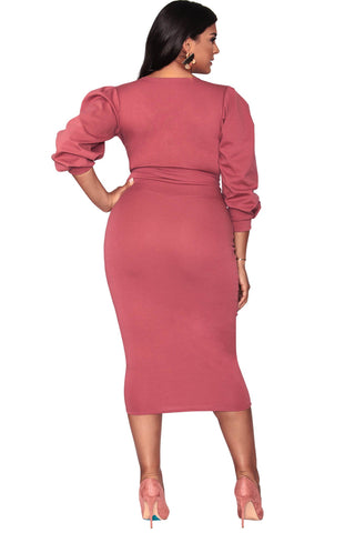 Candace Faux Wrap Dress - Make Me Blush
