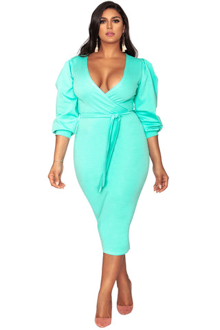 Candace Faux Wrap Dress - Fresh Mint