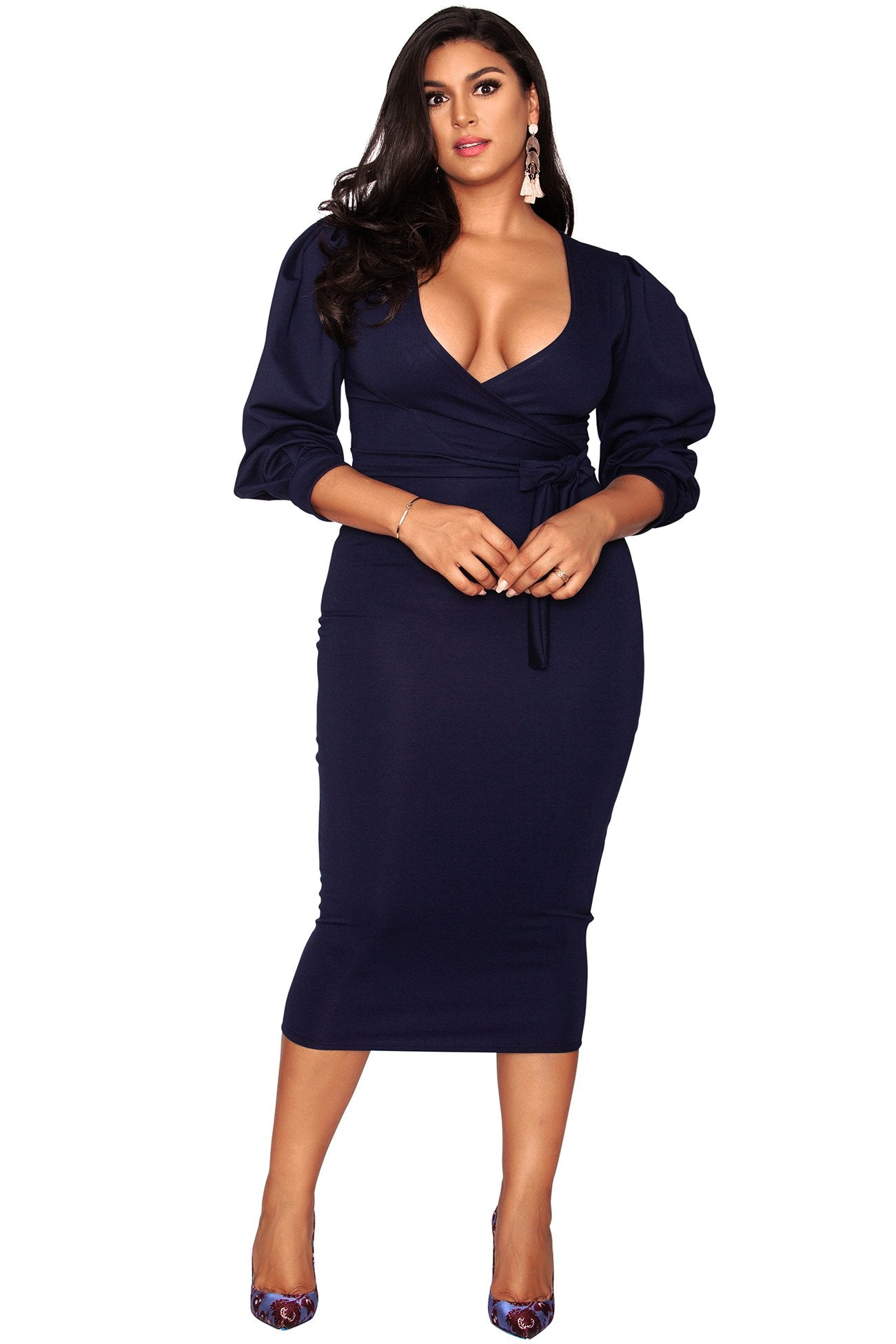 Candace Faux Wrap Dress - The Navy