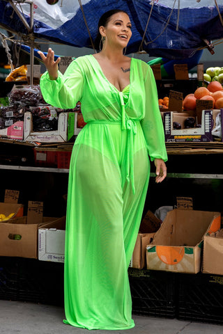 Chantel Jumpsuit & Bikini Set - Neon Green