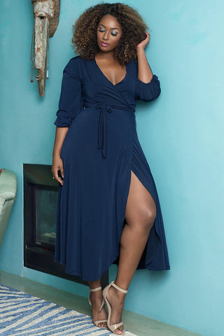Donna Wrap Dress  - Navy