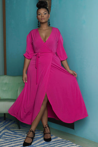 Donna Wrap Dress  - Hot Fuschia