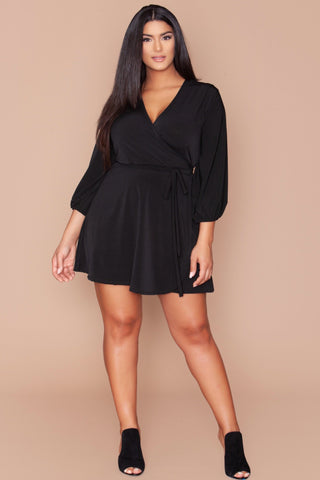 Kierra Wrap Dress - Black