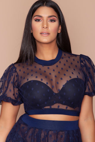 Patrinia Sheer Top- Navy