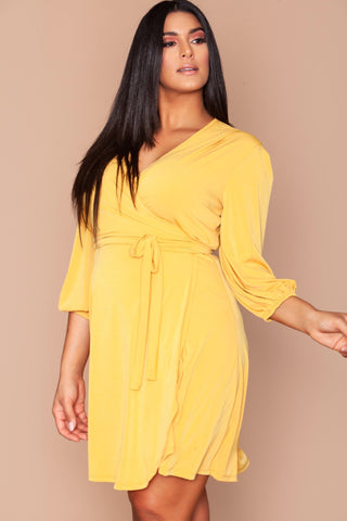 Kierra Wrap Dress - Mustard Seed