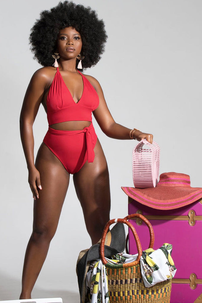 Paris Bikini Bottom- Medium Coverage - Ruby