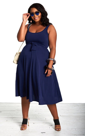 Leana Dress - Bright Navy