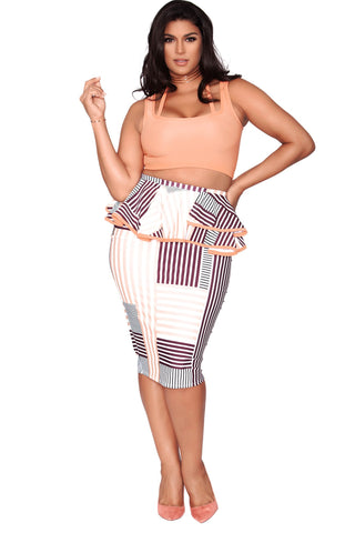 Megan Skirt - Peach Stripes