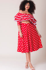 Melissa Skirt - Red Polka