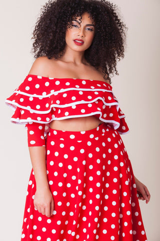 Melissa Ruffled Top - Red Polka