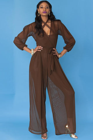 Minnie Jumpsuit- Sheer Chocolate