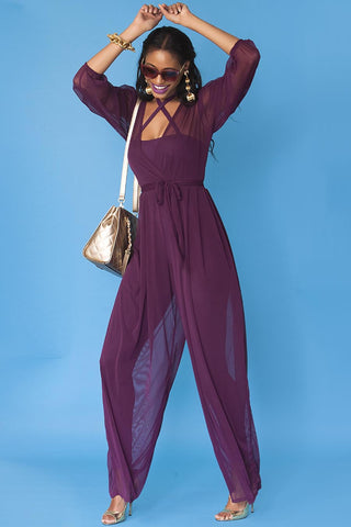 Minnie Jumpsuit- Sheer Grape