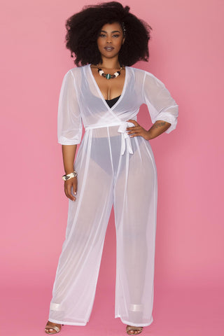 Minnie Sheer Jumpsuit- White