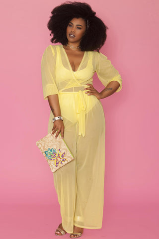 Minnie Sheer Jumpsuit- Butter Yellow