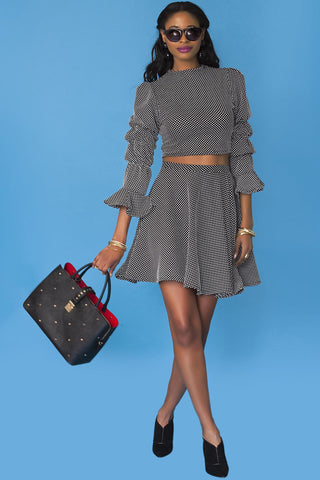 Muni Skirt- Gray Dot