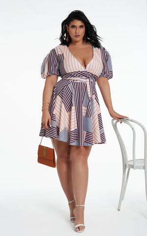 Perry Dress - Peach Stripes