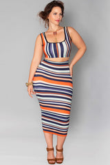 Rosie Skirt- Pumpkin Stripes