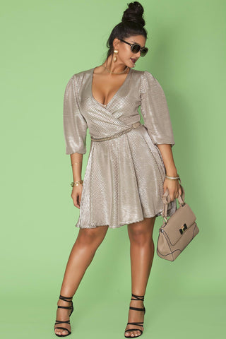 Randi Dress- Metallic Champagne