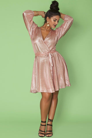 Randi Dress- Metallic Rose