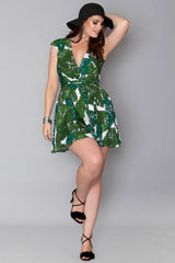 Regine Faux Wrap Dress - Green Leaf