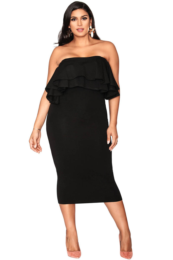 Robin Tube Ruffled Dress - Black