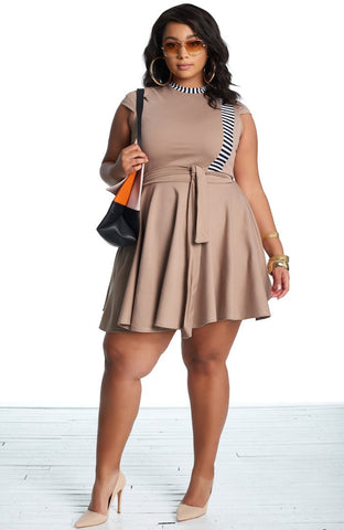 Roshana Skater Dress - Mocha