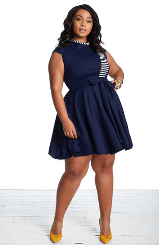 Roshana Skater Dress - Navy