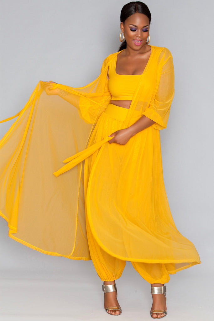 Sammie Sheer Dress - Yellow