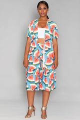 Thea Short Duster - Watermelon