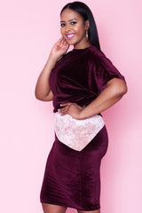 Vanessa Velvet Skirt - Wine Up