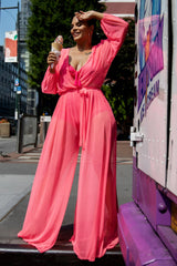 Chantel Jumpsuit & Bikini Set - Neon Pink