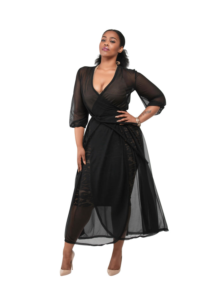 Sammie' Sheer Multi-Functional Wrap Dress - Black