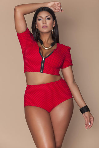 Yaya Full Coverage Bikini Bottom- Red