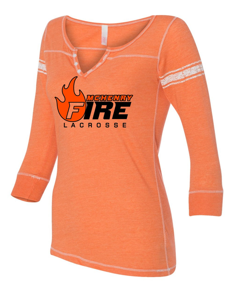 Womens 3/4 Sleeve Henley (McHenry Fire)