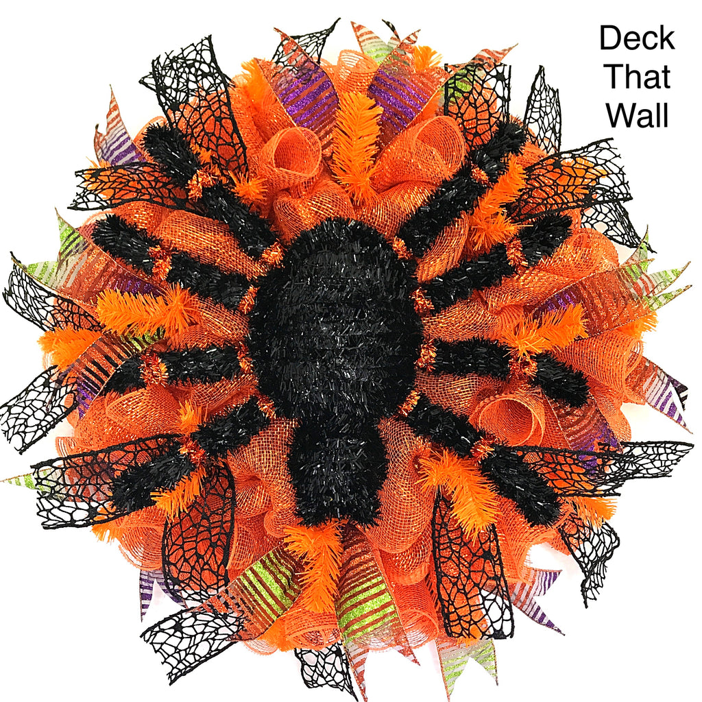 Orange Halloween Spider Mesh Wreath